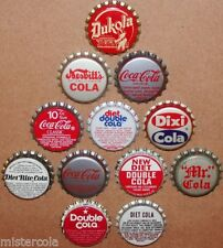 Vintage soda pop bottle caps COLA FLAVORS Lot of 12 different new old stock