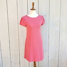 Maeve Anthropologie Coral Pink Knit Diamond Pattern Sweater Dress Size XS