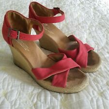 Toms Womens Espadrilles Wedge Sandals Heels Size 8.5 Red Canvas Ankle Strap