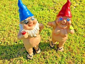 2x 29cm Nudist Garden Gnome Naughty Naked Body Standing Drinking Ornament Statue