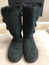 Ugg Women's Black Tall Bailey Button Classic Boots Size 5 Or 36 S/n 1873