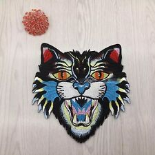 Blue Tiger/Cat Embroidered Sew On Fashion Patch DIY Clothing Jacket Applique