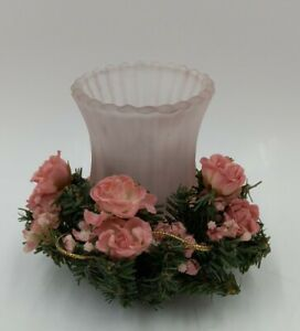 Glass Pink Votive  Hurricane with Candle Ring Pink Floral rose