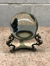 Vintage Crystal Ball w/Vintage Brass Stand (dragons) Healing Sphere