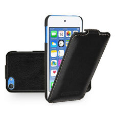 for Apple iPod Touch 6th Genuine Leather Vertical Flip Case Cover (9Color) Black