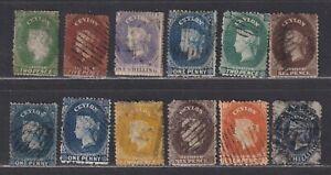 Ceylon 1861-1869 Queen Victoria Classic Selection 12 Stamps CV £165