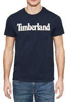Timberland Retro Brand Logo T-shirt Mens Crew Neck Print Cotton Tee Blue