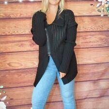Sarah Pacini Black Ribbed Long Knit Jacket One Size