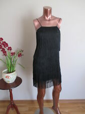 FRENCH CONNECTION roaring 20's flapper layered fringe dress black size 8 Gatsby