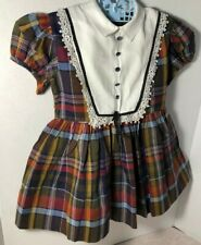 Vintage 1950's Nannette Brown Autumn Plaid Girls Dress