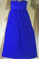 AMANDA UPRICHARD Silk Strapless Dress Size Large - Royal Blue - Made in USA