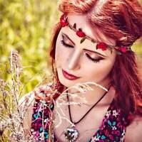 Couronne-Bandeau,Femme,Fleurs,Cuir-Daim-Elastique,Bohemienne,Hippi,Médieval,Mode