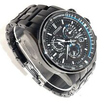 CITIZEN MEN'S $650 ECO-DRIVE BLACK A-T PERPETUAL ALARM CHRONO WATCH AT4127-52H