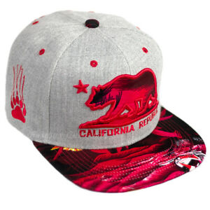 Hawaii Floral Baseball Cap California Republic Snapback Hat Cali Adjustable Men