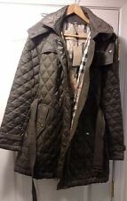 $795 Burberry Finsbridge Quilted Jacket Hooded Gray Belted Jacket Size XL NWT