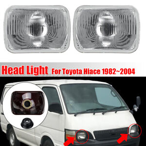 Pair Head Light Headlight Glass Lens Cover Replace For Toyota Hiace 1982-2004