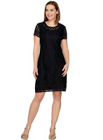 Isaac Mizrahi Live! Stretch Lace Short Sleeve Dress, Black, XS