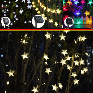 Solar Powered LED Lights Fairy String Waterproof Star Decor Outdoor Party Garden