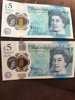 2x £5 NOTES AK06 218820 & AK06 218821 NEW  - CONSECUTIVE NUMBERS