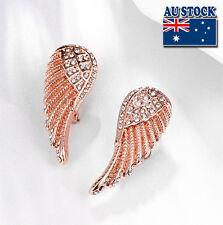 Elegant 18K Rose Gold Filled Angel Wings CZ Earrings Women Biker Bling Jewelry