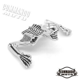 """New 5.75"""" Inch Headlight Visor/ Fender Skull Skeleton Ornament For Harley Bobber"""