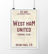 Upton Park West Ham FC White A4 Picture Art Poster Retro Vintage Style Print