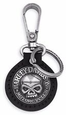 NEW GENUINE HARLEY DAVIDSON KEY FOB CHAIN RING SKULL HIGH QUALITY LEATHER 99443