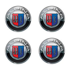 4x 64 mm  ALPINA silikon sticker domed embleme wheel center hub caps