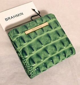 Brahmin Melbourne JANE Small Square Bifold Wallet MYRTLE Leaf Green NWT Rare!
