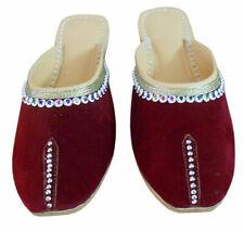 Women Slippers Indian Handmade Slip Ons Maroon Clogs UK 7.5 EU 42