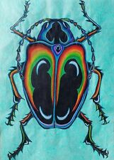 Original Beetle Drawing Signed Iridescent Jewel Scarab Study Colored Pencils