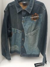 Roca Wear Denim Jeans Jacket Snap Button Embroidered Stitch Patch NEW XL 18-20