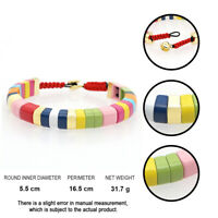 Gold Button Rainbow Tile Jewelry Bangle For Women Enamel Bracelet Boho Bracelets