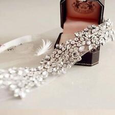 Handmade Wedding Bridal Party Vintage Crystal Tiara Ribbon headbands hair band