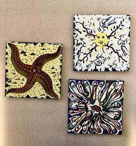 Salvador Dali Signed Art Tiles Set of 3