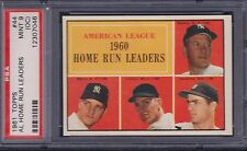 1961 TOPPS, AL HOME RUN LEADERS, #44, PSA 9 (OC) card.