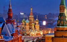 POSTER MOSCA MOSCOW RUSSIA PIAZZA ROSSA CREMLINO ZAR USA PHOTO WALLPAPER FOTO 1