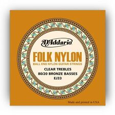 5 Pack! D'Addario EJ33 Folk Nylon Clear Trebles 80/20 Bronze Basses Ball End
