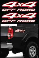 """2 - 4X4 OFFROAD WHITE / RED DECALS PARTS FOR NISSAN FRONTIER TRUCKS SIZE 4""""x15"""""""