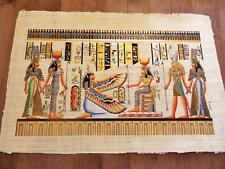 "XXL Signed Handmade Papyrus Egyptian Queen ISIS Art Painting....38"" x 26"" Inches"
