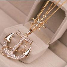 Collier Kette Halskette ANKER Anhänger Kristall Strass Langekette Gold Schmuck