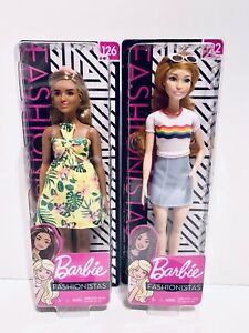 """Lot 2 Barbie Fashionistas 12"""" Doll With Unique Fashion And Accessories Dolls NEW"""