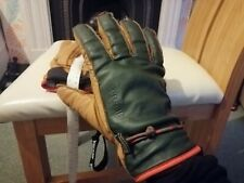 Hestra size 10 mens leather green and tan gloves, worn seldom VGC