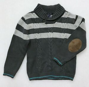 CHEROKEE BOY'S GRAY PULL OVER SWEATER COWL NECK CABLE KNIT ELBOW PADS NEW