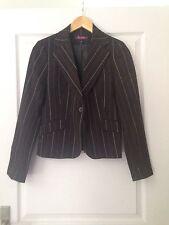 Tailleur Pantalon T40 Illusion Noir Fine Rayures Blanches Porté 1seule Fois