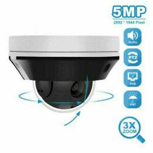 5MP PTZ Dome POE IP Camera 2.8-8mm 3XZoom Audio Night Vision CCTV Cam Onvif UK