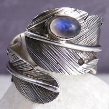 FEATHER WRAP US 4-9 Adjust. SilverSari Ring Solid 925 Stg Silver + MOONSTONE