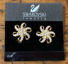 Swarovski Signed Swan Mark - Rhinestone Flower Swirl Gold Tone Clip On Earrings