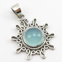 """925 Sterling Silver Blue Chalcedony Ethnic Pendant for Necklace 1.7"""""""