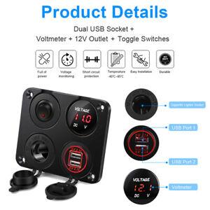 4 In 1 Dual USB Car Cigarette Lighter Socket 12V Charger Voltmeter Switch Panel